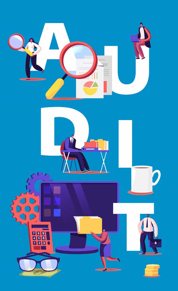 Financial Administration and Audit Concept. Consulting for Company Performance, Analysis, Statistics and Business Statement. Auditing Poster Banner Flyer Brochure. Cartoon Flat Vector Illustration